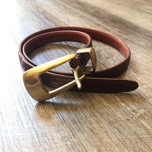 Coach Mahogany Brown Leather Skinny Belt Medium
